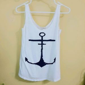 Adorable White with Navy Blue Anchor Tank!
